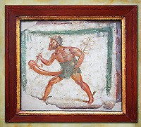 Workshop Banner showing Mercury with a massive phalus. Erotic Fresco from Pompeii, Naples Archaeological Museum 1st cent AD