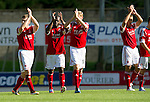 St Johnstone v Aberdeen....18.08.12   SPL.Gary Naysmith, Isaac Osbourne, Stephen Hughes and Gavin Rae aplaud the fans.Picture by Graeme Hart..Copyright Perthshire Picture Agency.Tel: 01738 623350  Mobile: 07990 594431