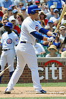 Chicago Cubs first baseman Anthony Rizzo #44 awaits a pitch during a game against the Arizona Diamondbacks at Wrigley Field on July 15, 2012 in Chicago, Illinois. The Cubs defeated the Diamondbacks 3-1. (Tony Farlow/Four Seam Images).