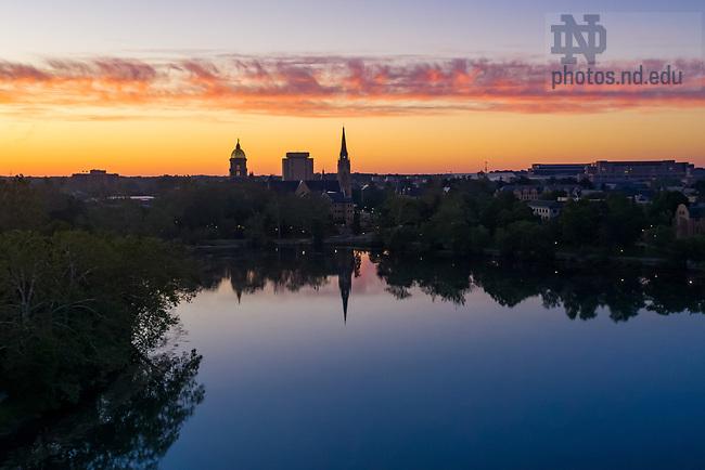June 15, 2021; Sunrise over Saint Mary's Lake (Photo by Matt Cashore/University of Notre Dame)