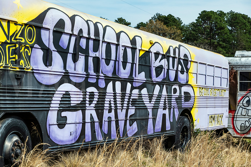 Alonzo Wade's School Bus Graveyard,  Alto, Georgia, USA.