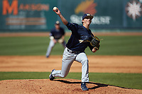 Wingate Bulldogs starting pitcher Hunter Morgan (24) in action against the Catawba Indians at Newman Park on March 19, 2017 in Salisbury, North Carolina. The Indians defeated the Bulldogs 12-6. (Brian Westerholt/Four Seam Images)