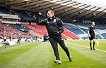 Neil Lennon running up to the corner flag as he celebrates Hibs' equaliser