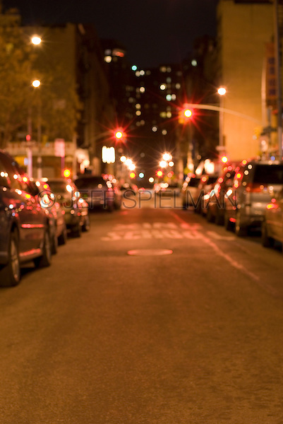 AVAILABLE FROM JEFF AS A FINE ART PRINT.<br /> <br /> AVAILABLE DIRECTLY FROM JEFF FOR COMMERCIAL/EDITORIAL LICENSING.<br /> <br /> Soft Focus (Defocused) Mysterious Street Scene at Night, Lower East Side, New York City, New York State, USA