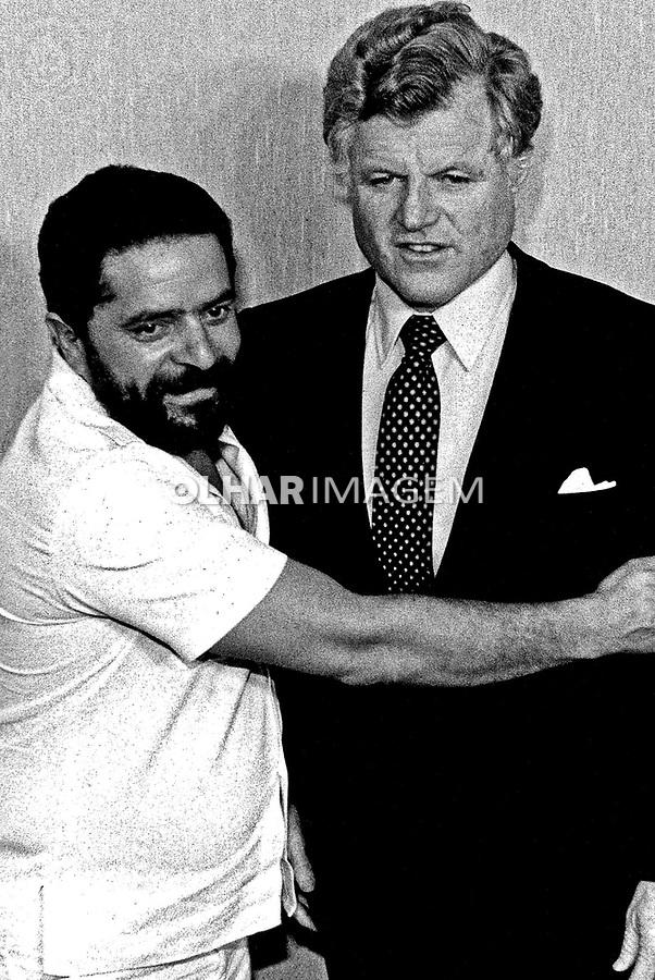 Pessoa. Personalidade. Luis Inácio (Lula) da Silva, sindicalista e Ted Kenedy, político. SP. 1984. Foto de Juca Martins.