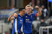SAN JOSE, CA - MAY 1: Jackson Yueill #14 of the San Jose Earthquakes celebrates scoring with Cristian Espinoza #10 during a game between D.C. United and San Jose Earthquakes at PayPal Park on May 1, 2021 in San Jose, California.