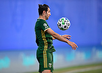 LAKE BUENA VISTA, FL - JULY 18: Diego Valeri #8 of the Portland Timbers settles the ball of his chest during a game between Houston Dynamo and Portland Timbers at ESPN Wide World of Sports on July 18, 2020 in Lake Buena Vista, Florida.