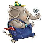 Illustration of mechanic elephant holding adjustable wrench while running over white background