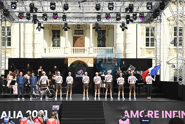 AG2R Citroen Team on stage at team presentation of the 2021 Giro d'Italia inside the Cortile d'Onore of the Castello del Valentino, on the occasion of the 160th anniversary of the Unification of Italy, Turin, Italy. 6th May 2021.  <br /> Picture: LaPresse/Fabio Ferrari | Cyclefile<br /> <br /> All photos usage must carry mandatory copyright credit (© Cyclefile | LaPresse/Fabio Ferrari)