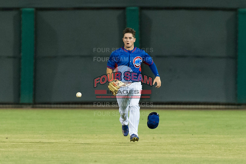 AZL Cubs 2 center fielder Cole Roederer (34) prepares to field a ball during an Arizona League game against the AZL Indians 2 at Sloan Park on August 2, 2018 in Mesa, Arizona. The AZL Indians 2 defeated the AZL Cubs 2 by a score of 9-8. (Zachary Lucy/Four Seam Images)