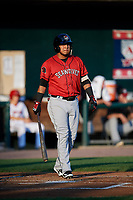 Erie SeaWolves third baseman Isaac Paredes (18) at bat during a game against the Harrisburg Senators on August 29, 2018 at FNB Field in Harrisburg, Pennsylvania.  Harrisburg defeated Erie 5-4.  (Mike Janes/Four Seam Images)