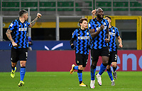 Football Soccer: Tim Cup Quarter Finals InternazionaleMIlan vs Milan, Giuseppe Meazza Stadium (San Siro) Milan, on January 26, 2021.<br /> Inter's Romelu Lukaku (r) celebrates after scoring with his teammates during the Italian Serie A football match between Inter  and Milan at the Giuseppe Meazza stadium in Milan, January 26, 2021.<br /> UPDATE IMAGES PRESS/Isabella Bonotto