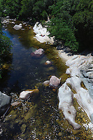 Badestelle im Fluss Guagno nahe Vico, Korsika, Frankreich