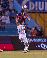 SAN PEDRO SULA, HONDURAS - SEPTEMBER 8: Miles Robinson #12 of the United States heads the ball during a game between Honduras and USMNT at Estadio Olímpico Metropolitano on September 8, 2021 in San Pedro Sula, Honduras.