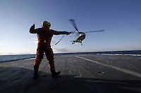 Air operations with a Westland Lynx helicopter. Coastguard vessel KV Svalbard patrols the northermost waters of Norway, including around the islands that she is named after. The main task is inspecting fishing boats, but she also performs search and rescue missions, and environmental monitoring. © Fredrik Naumann