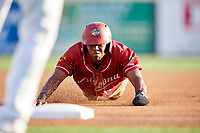 Altoona Curve third baseman Ke'Bryan Hayes (10) slides into third base during a game against the Richmond Flying Squirrels on May 15, 2018 at Peoples Natural Gas Field in Altoona, Pennsylvania.  Altoona defeated Richmond 5-1.  (Mike Janes/Four Seam Images)