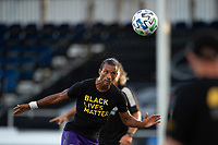 LAKE BUENA VISTA, FL - JULY 25: Nani #17 of Orlando City SC heads the ball during a game between Montreal Impact and Orlando City SC at ESPN Wide World of Sports on July 25, 2020 in Lake Buena Vista, Florida.
