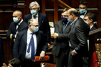 Italian minister of Economy Roberto Gualtieri, minister of European Affairs Vincenzo Amendola and deputy Pier Luigi Bersani during the Premier speech about the European Council at the Chamber of Deputies. Rome (Italy), July 22nd 2020<br /> Foto Samantha Zucchi Insidefoto