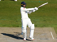 16th April 2021; Emirates Old Trafford, Manchester, Lancashire, England; English County Cricket, Lancashire versus Northants;  Saqib Mahmood of Lancashire swings out at the ball