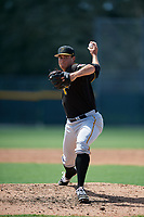 Pittsburgh Pirates relief pitcher Geoff Hartlieb (58) delivers a pitch during a Florida Instructional League game against the Detroit Tigers on October 2, 2018 at the Pirate City in Bradenton, Florida.  (Mike Janes/Four Seam Images)