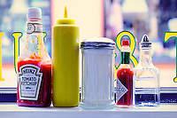 Condiment detail at a diner.
