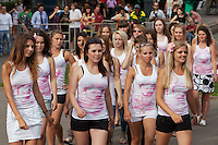"Moscow Russia, 23/07/2011..Members of Putin's Army, a group of Pro-Putin activists that launched on the Internet last week with a video of scantily clad young Russian women, campaign in central Moscow under the slogan ""Tear Something For Putin""."
