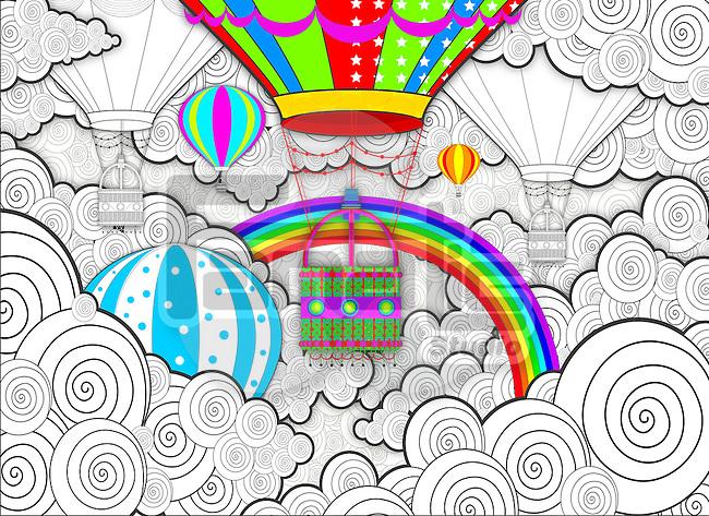Illustration of hot air balloon festival