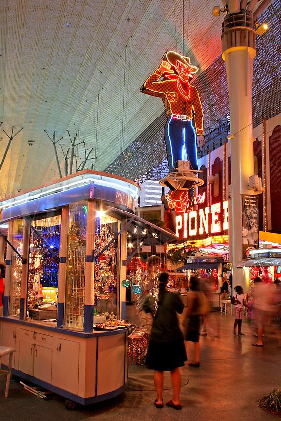 Evening lighting people at Fremont Street Experience Las Vegas Nevada