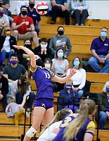 DeForest's Reese Yocum eyes her shot, as DeForest tops Waunakee 3 sets to 1 in Wisconsin WIAA girls high school volleyball regional finals on Saturday, Apr. 10, 2021 at DeForest High School
