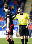 St Johnstone v Partick Thistle…28.04.18…  McDiarmid Park    SPFL<br />Referee Alan Muir lectures Niall Keown<br />Picture by Graeme Hart. <br />Copyright Perthshire Picture Agency<br />Tel: 01738 623350  Mobile: 07990 594431