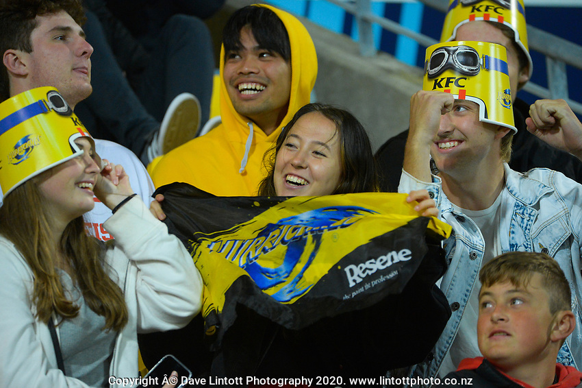 Fans in the grandstand during the Super Rugby Aotearoa match between the Hurricanes and Highlanders at Sky Stadium in Wellington, New Zealand on Friday, 30 April 2020. Photo: Dave Lintott / lintottphoto.co.nz