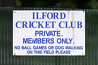 Ilford CC signage during Ilford CC vs Hornchurch CC, Shepherd Neame Essex League Cup Cricket at Valentines Park on 27th April 2019