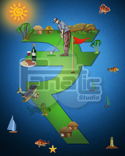 Illustrative image of man playing golf on rupee sign representing business trip