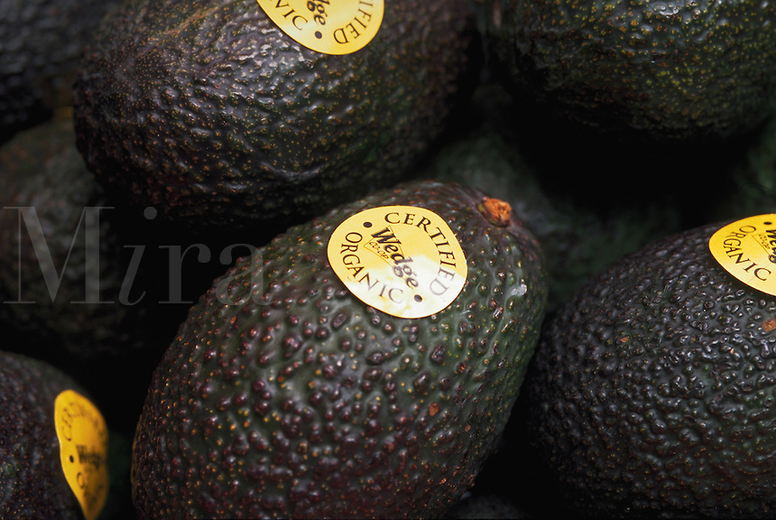 Organic avocados in the produce section of a grocery coop