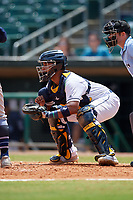 Montgomery Biscuits catcher David Rodriguez (12) during a Southern League game against the Mobile BayBears on May 2, 2019 at Riverwalk Stadium in Montgomery, Alabama.  Mobile defeated Montgomery 3-1.  (Mike Janes/Four Seam Images)