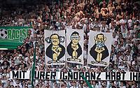 "20.08.2018, Football DFB Pokal 2018/2019, 1. round, SpVgg Greuther Fuerth - Borussia Dortmund, Sportpark Ronhof in Fuerth. Fuerther Fans and Spruchbang dgen Grindel and Co: ""Mit Eurer Ignoranz habt Ihr Euch  Affen gemacht! DFB/DFL and Co - Ihr werdet noch of  uns hoeren!""<br />v.li: BFV Rainer Koch, DFL, DFB Grindel als Affen and Geldscheinen in Ohren, Augen and Mund.<br /><br /><br />***DFB rules prohibit use in MMS Services via handheld devices until two hours after a match and any usage on internet or online media simulating video foodaye during the match.*** *** Local Caption *** © pixathlon<br /> <br /> Contact: +49-40-22 63 02 60 , info@pixathlon.de"