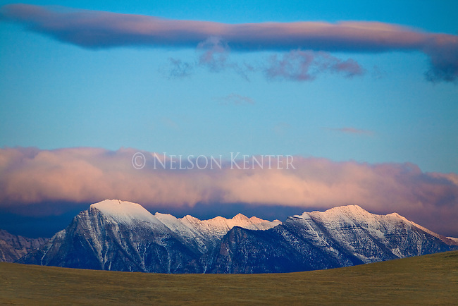 Mission Mountains and alpenglow