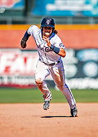 18 July 2018: New Hampshire Fisher Cats infielder Bo Bichette in action against the Trenton Thunder at Northeast Delta Dental Stadium in Manchester, NH. The Fisher Cats defeated the Thunder 3-2 in a 7-inning, second game of the day. Mandatory Credit: Ed Wolfstein Photo *** RAW (NEF) Image File Available ***