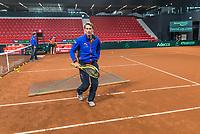 The Hague, The Netherlands, September 13, 2017,  Sportcampus , Davis Cup Netherlands - Chech Republic, Training Dutch team, captain Paul Haarhuis is tweeping the court<br /> Photo: Tennisimages/Henk Koster