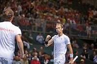 Switserland, Genève, September 19, 2015, Tennis,   Davis Cup, Switserland-Netherlands, Doubles: Dutch team Matwe Middelkoop/Thiemo de Bakker (R)  photo2<br /> Photo: Tennisimages/Henk Koster
