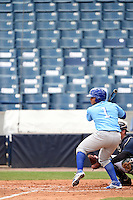 Daytona Cubs outfielder Oliver Zapata (1) at bat in front of an empty section during a game against the Tampa Yankees  on April 13, 2014 at George M. Steinbrenner Field in Tampa, Florida.  Tampa defeated Daytona 7-3.  (Mike Janes/Four Seam Images)