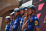 Remco Evenepoel (BEL) and Deceuninck-Quick Step at sign on before the start of Stage 13 of the 2021 Giro d'Italia, running 198km from Ravenna to Verona, Italy. 21st May 2021.  <br /> Picture: LaPresse/Marco Alpozzi | Cyclefile<br /> <br /> All photos usage must carry mandatory copyright credit (© Cyclefile | LaPresse/Marco Alpozzi)