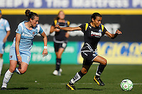Marta Vieira da Silva (10) of the Los Angeles Sol is chased by Meghan Schnur (12) of Sky Blue FC. The Los Angeles Sol defeated Sky Blue FC 2-0 during a Women's Professional Soccer match at TD Bank Ballpark in Bridgewater, NJ, on April 5, 2009. Photo by Howard C. Smith/isiphotos.com