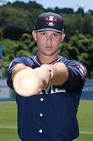 Rome Braves outfielder Braxton Davidson (24) poses for a photo prior to the game against the Asheville Tourists at McCormick Field on July 26, 2015 in Asheville, North Carolina.  The Tourists defeated the Braves 16-4.  (Brian Westerholt/Four Seam Images)