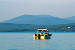 Boat on Rangeley Lake, Rangeley, Maine, USA