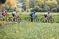 Leah Kirchmann (CAN/Sunweb), Alicia Gonzalez Blanco (ESP/Movistar) and Franziska Koch (Sunweb) over the Haaghoek cobbles<br /> <br /> 17th Ronde van Vlaanderen 2020<br /> Elite Womens Race (1.WWT)<br /> <br /> One Day Race from Oudenaarde to Oudenaarde 136km<br /> <br /> ©kramon