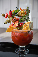 Las Vegas, Nevada.  Guy's Hangover Recovery Bloody Mary, Guy Fieri's Restaurant, The Linq.