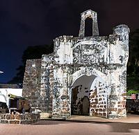 Porta de Santiago, Gate of A Famosa Portuguese Fort, 16th. Century, Night View, Melaka, Malaysia.
