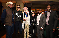 PASADENA, CA - JANUARY 17: (L-R) Heartland Docs, DVM's Dr. Ben Schroeder and Dr. Erin Schroeder, National Geographic Explorers-at-Large Dereck Joubert and Beverly Joubert, and Critter Fixers Country Vets Dr. Vernard L. Hodges and Dr. Terrence Ferguson attend the National Geographic 2020 TCA Winter Press Tour Party at the Langham Huntington on January 17, 2020 in Pasadena, California. (Photo by Frank Micelotta/National Geographic/PictureGroup)