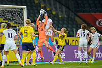 SOLNA, SWEDEN - APRIL 10: Lynn Williams #6 of the United States goes up high for a head ball during a game between Sweden and USWNT at Friends Arena on April 10, 2021 in Solna, Sweden.